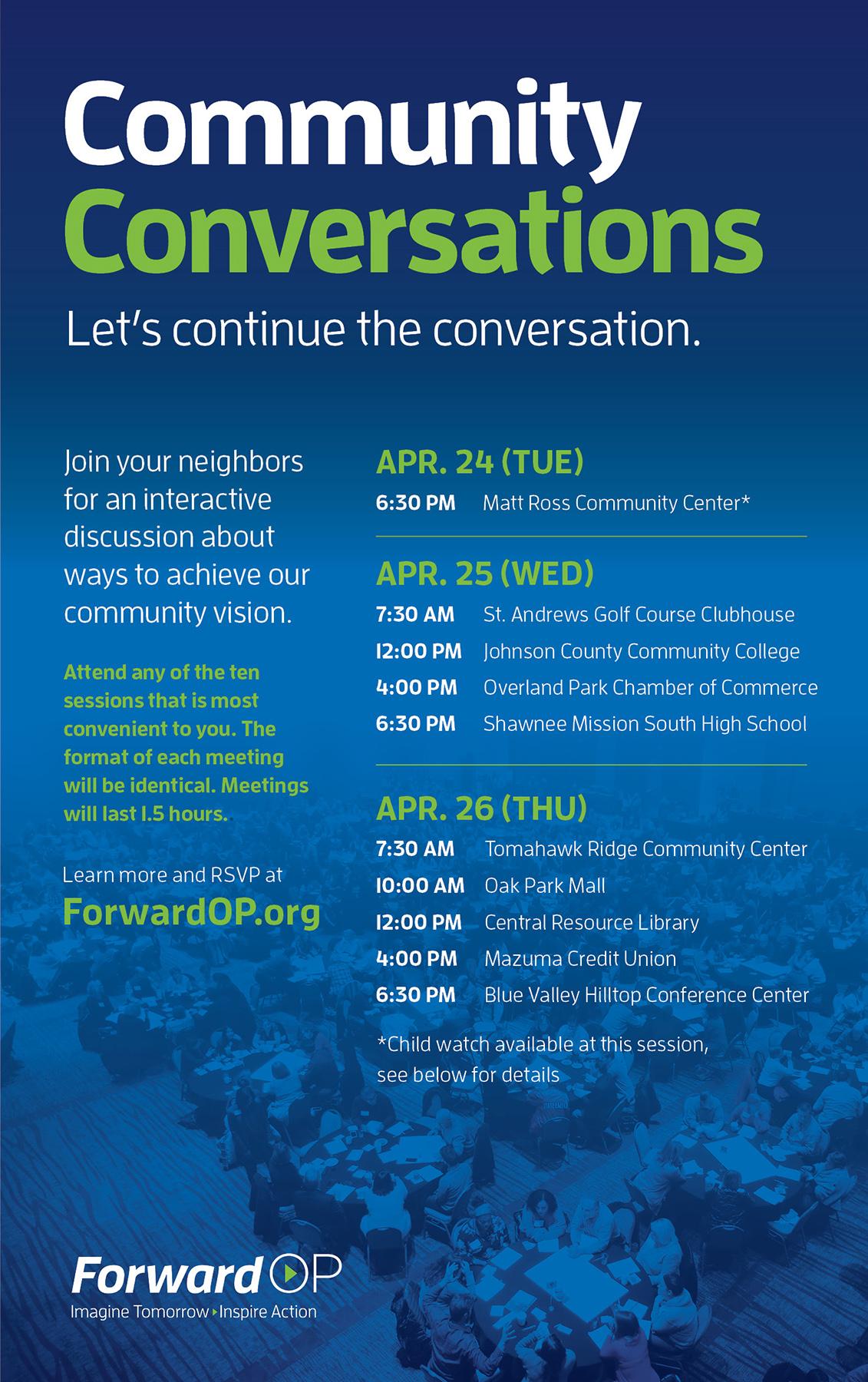 Let's continue the conversation – Community Conversations, Apr 24-26